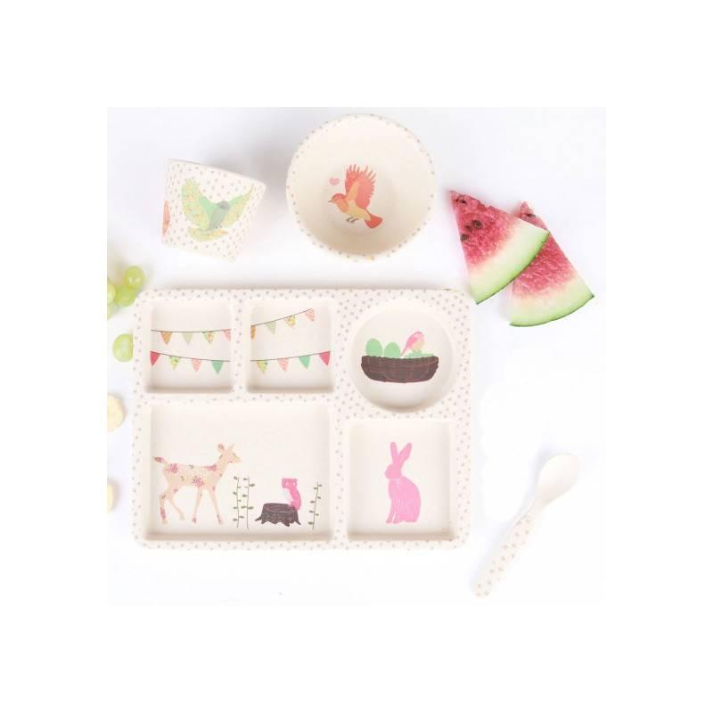 set vaisselle bambou love mae kerael b b angel. Black Bedroom Furniture Sets. Home Design Ideas